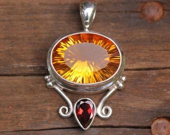 Concave Cut Citrine & Garnet Pendant, Bezel Set Solid Sterling Silver, Semi Precious Gemstone Jewelry, Yellow Citrine Quartz DYC-6