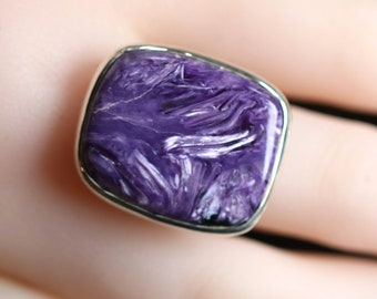 Squoval Charoite Ring, Size 9 Handcrafted 925 Sterling Silver, Rare Siberian Stone, Hand Selected Collector Quality, Talisman