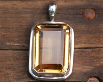 Large Emerald Cut Citrine Pendant in Solid Sterling Silver, Semi Precious Gemstone Jewelry, Yellow Citrine Quartz DYC-2