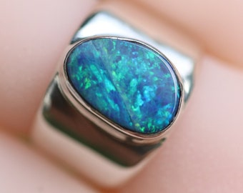 Deep Blue-Green Australian Fire Opal Ring, Solid Sterling Silver, Wide Band Ring,  High Quality Genuine Natural Opal Doublet