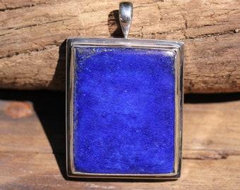 Large Royal Blue Lapis Lazuli Pendant Bezel Set Solid Sterling Silver, Simple Gemstone Jewelry, High Quality Gemstones LZP-2