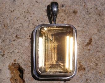 Medium Size Emerald Cut Citrine Pendant in Solid Sterling Silver, Semi Precious Gemstone Jewelry, Yellow Citrine Quartz DYC-3