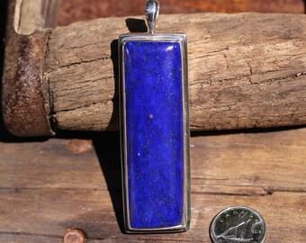 Long Rectangle Dark Blue Lapis Lazuli Pendant Bezel Set Solid Sterling Silver, Simple Gemstone Jewelry, High Quality Gemstones LZP-1