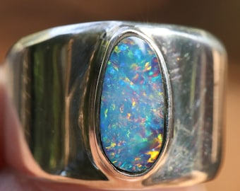 Small Multi Color Australian Fire Opal Ring, Solid Sterling Silver, Wide Band Ring,  High Quality Genuine Natural Opal Doublet
