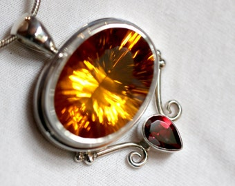 Large Citrine & Garnet Pendant, Thick Solid Sterling Silver, Semi Precious Gemstone Jewelry, Yellow Citrine Quartz, Starburst Concave Cut