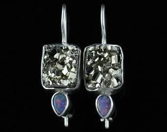 Druzy Iron Pyrite & Australian Fire Opal Earrings, Handmade Solid Sterling Silver, Latch Back Safety Lock, Semi Precious Gemstone