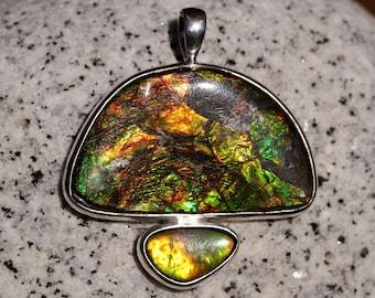 Large Orange & Green Double Ammolite Pendant Bezel Set Solid Sterling Silver, High Quality Fossilized Ammonite Shell, Alberta Canada, Rare