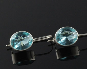10 x 12 Blue Topaz Earrings With Lever Back Safety Latch,  Faceted Stones. Solid Sterling Silver