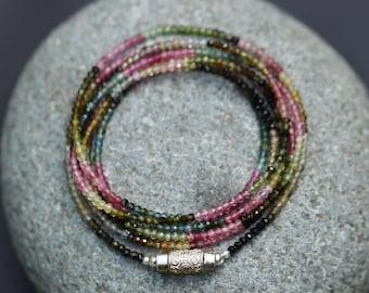 """Long Tourmaline Multi Wear Necklace/Double Necklace-Wrap Bracelet 2.5 mm Micro Facet Cut Beads, Sterling Silver Clasp  43""""-110 cm"""
