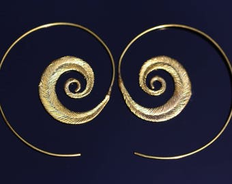 Brass Spiral Earrings, New Feather Design,Lightweight Boho Hoop Earrings, Regular Pierced Ears