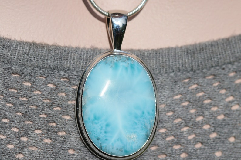 Blue Pectolite Solid Sterling Silver Authentic Nice Quality Dominican Republic Stone Light Blue Oval Larimar Pendant