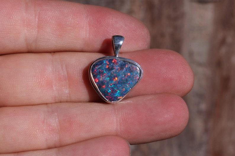 Lightning Ridge Red /& Blue Colors Opal Doublet Solid Sterling Silver Boulder Opal Large Multi Color Australian Fire Opal Pendant