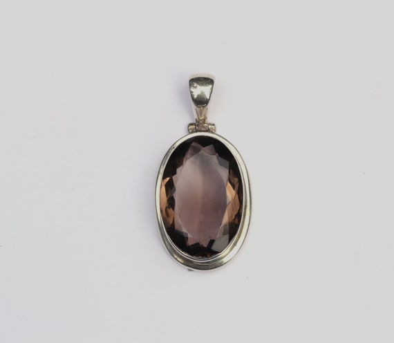 """925 SOLID STERLING SILVER FACETED SMOKEY QUARTZ LONG CHAIN NECKLACE 32L/"""""""
