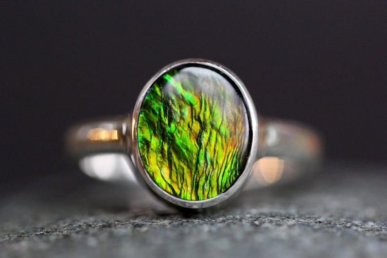Rare Alberta Bright Green /& Orange Ammolite Ring Quality Sterling Silver Size 7 Fossilized Ammonite Shell Korite Top Grade Gemstone