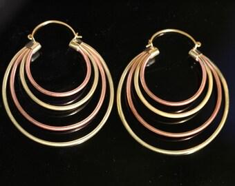 Copper & Brass Hoop Style Earrings, Big Earrings, Boho Ethnic Design