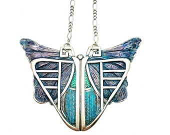 Art Deco Butterfly Pendant/Art Deco Jewelry/Great Gatsby/Vintage Jewelry/Art Nouveau/Filigree Necklace/Butterfly Jewelry/Statement Necklace