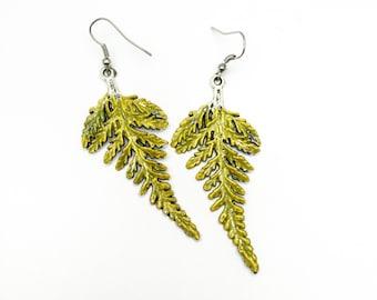 Fern Earrings,Fern Jewelry,Leaf Earrings,Dangle Earrings,Nature Earrings, Nature Inspired Jewelry,Woodland Earrings,Green Earrings,Leaf