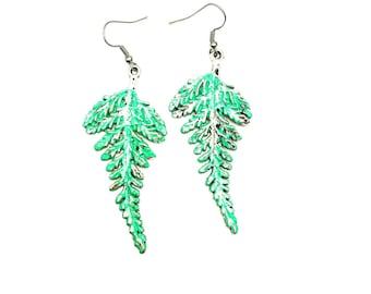 Fern Earrings,Fern Jewelry,Leaf Earrings,Dangle Earrings,Nature Earrings, Nature Inspired Jewelry,Woodland Earrings,Mint Earrings,Leaf