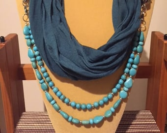 Teal and Turquoise Howlite Infinity Scarf, Teal Scarf, Turquoise Scarf, Infinity Scarf, Teal Necklace, Turquoise Necklace, Continuous Loop
