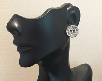 Pewter Greek Key Button Stud Earrings, Button Earrings, Greek Key Earrings, Pewter Button Earrings, Stud Earrings, Earrings