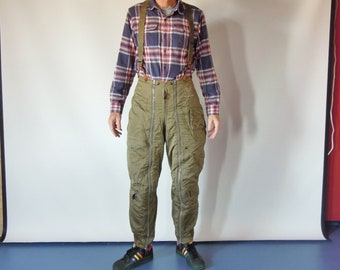 "Air Force Sherpa Lined Flying Flight Trousers with Police Brace Leather end Suspenders 1940's WW2 Type  A-11-A 31.5"" waist"