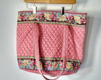 Vera Bradley Large Market Bag Tote Shoulder Bag Quilted 90 s era Pink  Floral Pattern XL tote bag bb7f649723