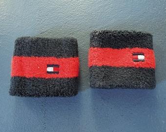b04ba15b761d Rare Tommy Hilfiger Sweatband Wrist Sweatband Red Blue Terry Cloth Stretch  Sports Sweatbands Tommy Logo 90's era