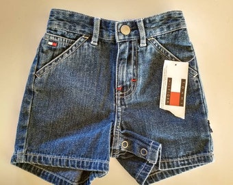 38f5c63b Tommy Hilfiger infant Denim shorts 6-12 Months Late 90's era New with tag  Snap crotch Green Gold Zipper logo carpenter Hook on side