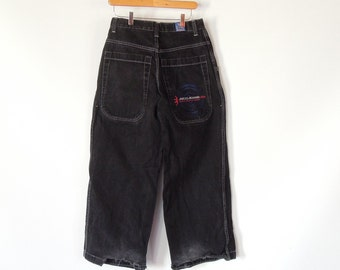 5a28d80fd1 Vintage Jnco Jeans 80's era Skater hip hop Wide Loose Fit High Waist Men's  Size 30/30 Frayed hems Collectors item Rare Black JNCO jeans