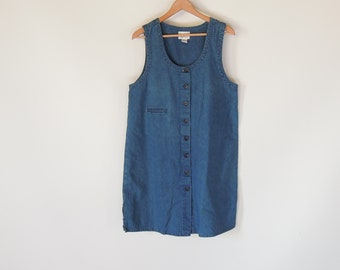 bc852591df5ae Denim Tank Dress 90 s era Loose Fit Denim Sleeveless Dress Denim shift Dress  Minimalism Simple knee length Size Large Button Down