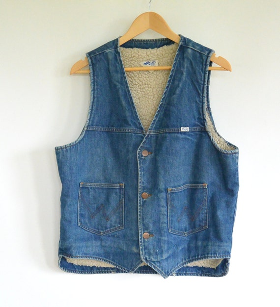 Wrangler Denim Vest Sherpa lined Truckers/Ranchers