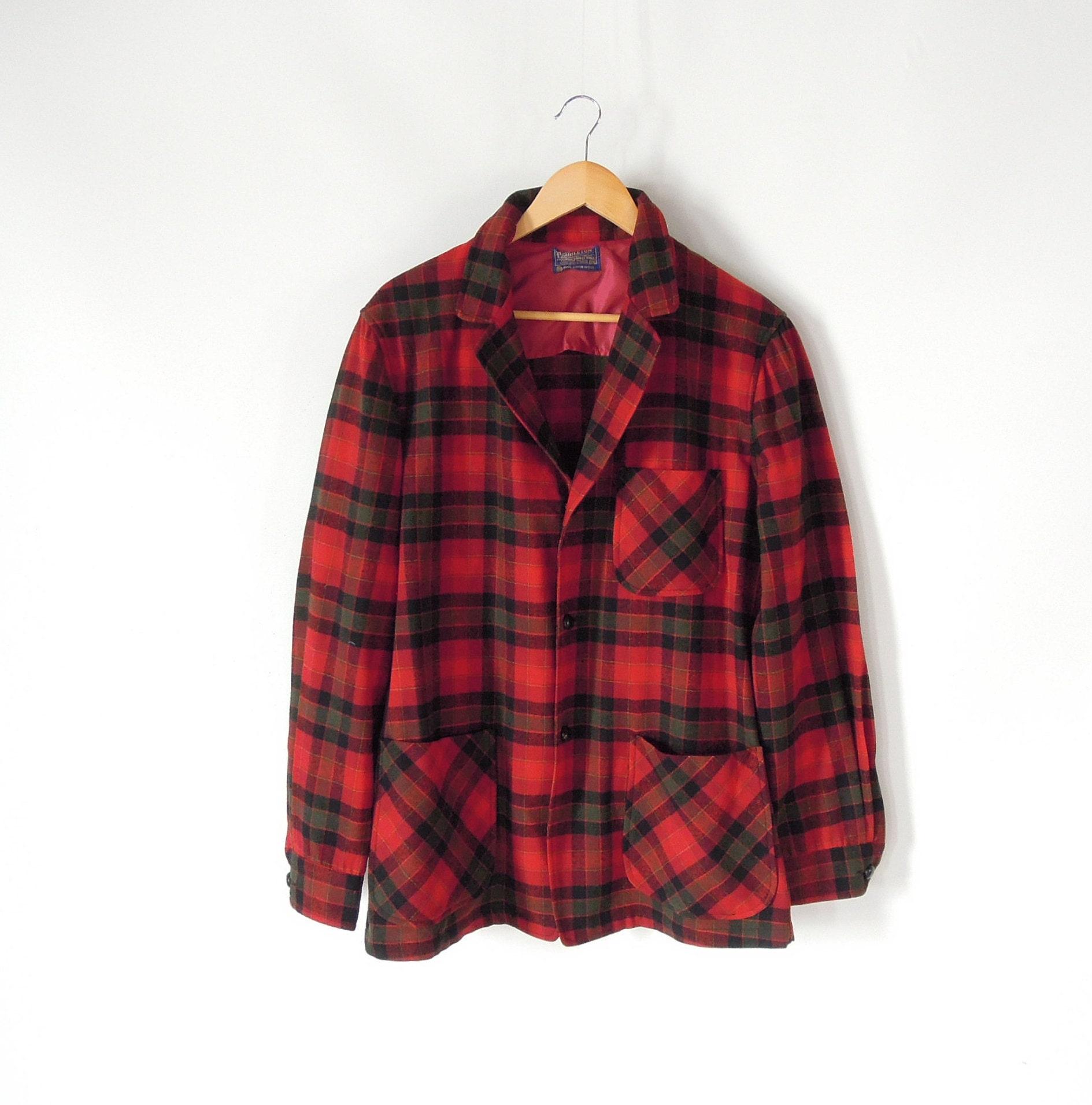 1960s – 70s Men's Ties | Skinny Ties, Slim Ties Pendleton Mens Blazer Vintage 1960s Red Plaid Virgin Wool Faux Leather Buttons Medium Sportscoat $26.00 AT vintagedancer.com