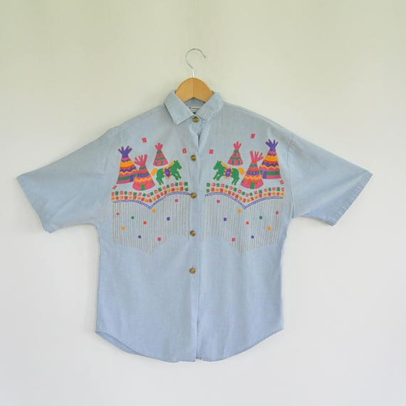 Chambray Blouse Tipi Hand Painted Native Print Hor