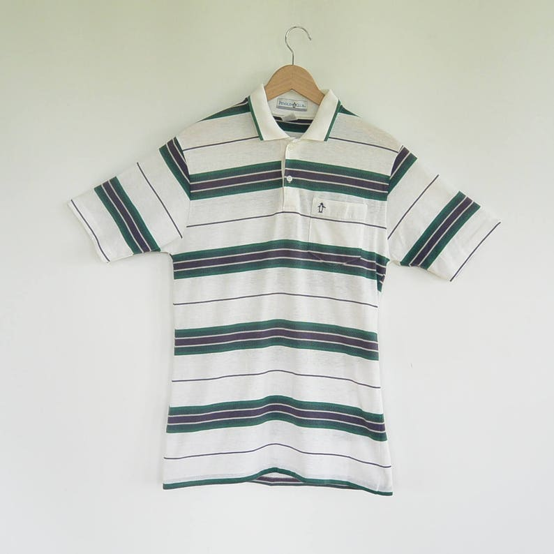 Penguin Club Sporty Men/'s Polo Shirt Soft Faded Colors Like New 1970/'s Era Size Small Preppy Polo Shirt Cotton Poly Blend
