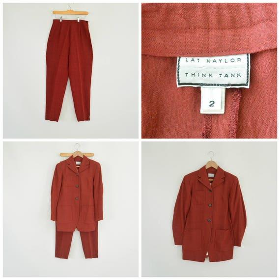 Lat Naylor Think Tank Linen Pant Suit High End De… - image 1