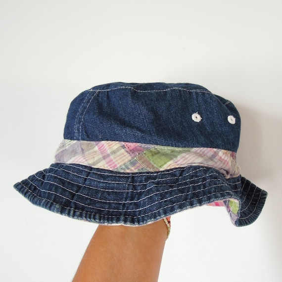 Denim bucket Hat reversible Plaid Denim  90's vint