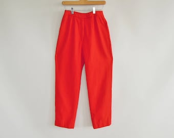"Bright Red Wool Pants Jantzen 1960's Era High Waist Tapered leg Wool Dress Pants/Slacks 25"" waist 38"" hips Modern Size 1/2  Nylon lined"