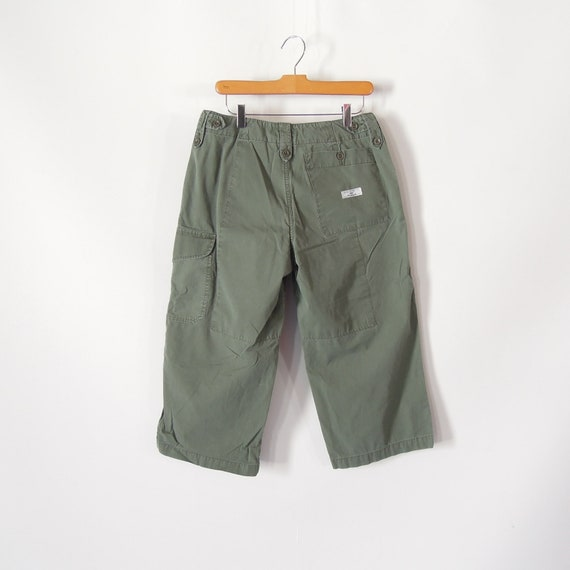 Ralph Lauren Cropped Cargo pants Relaxed Army Green Cargo Capri Size 8 Cotton Fatigue Wider Leg 90's era