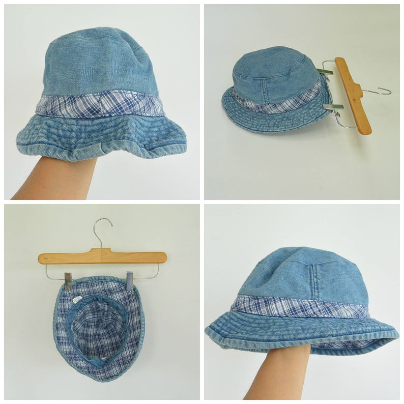 bc321105f511b Denim Bucket Hat Plaid Trim 90 s Era Size S M Reversible