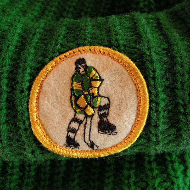026a363d3 Vintage Hockey Stocking Cap with Built in Face Mask Minnesota Northstars  Colors 1970's Era Pom Pom Green Knit Hockey Patch