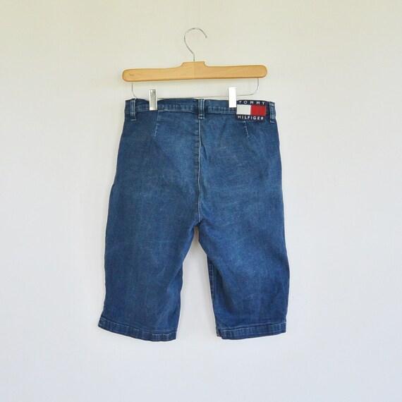 b487979c3 Tommy Hilfiger Stretchy Long Denim Shorts High Waist/Rise   Etsy