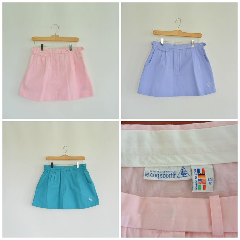 bf68529160f0b le coq sportif Vintage Tennis Skirts Three color Choices Pink Teal or  Violet Designed in France 90's Tennis skirt 28