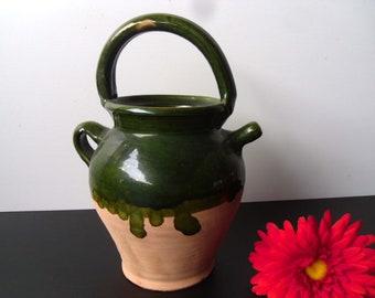 French terracotta gargoulette. Earthenware Provence French cruche water jug, wine carafe, botijo jug. Alcaraza terracotta jug