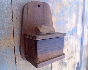 Wooden salt box French salt box. Salt container. Vintage salt container. Rustic wood box. Kitchen wood box. French kitchen salt box