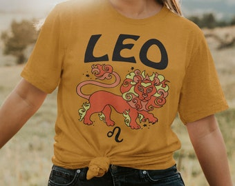 62d34b7ba The Leo Tee / womens graphic tees / 60s 70s vintage style t shirt / zodiac  sign lion astrology gifts tshirt / hippie gift shirts