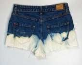 Bleached denim shorts, size 28 (4-6)