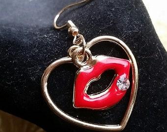 Red Lips dangler earrings