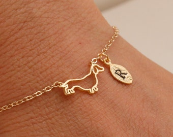 f1e0e82b1ca Dachshund jewelry. custom bracelet. personalized jewelry. handstamp initial  bracelet.gold filled bracelet.