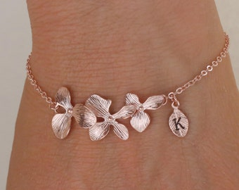099b916ee rose gold orchid flower bracelet. orchid flower jewelry. custom  personalized jewelry. handstamp initial bracelet.gold filled bracelet.