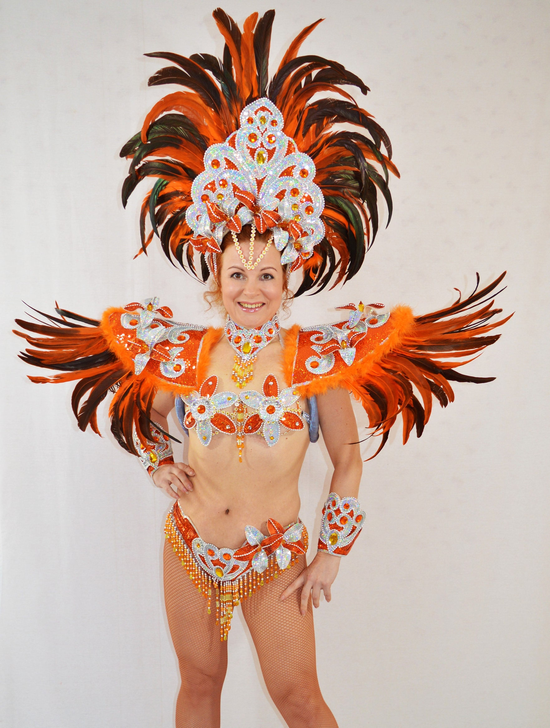 Samba Brazilian Orange/Silver carnival SAMBA dance COSTUME